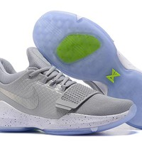 Nike Zoom Paul George   PG 1  White /Gray  Basketball Shoes