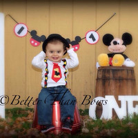 MICKEY MOUSE Tie with Suspenders 1st BIRTHDAY Set- Birthday Set with Suspenders- Cake Smash-Baby Mouse Birthday One Piece-Disney Birthday