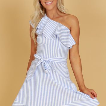 One Shoulder Striped Dress Blue