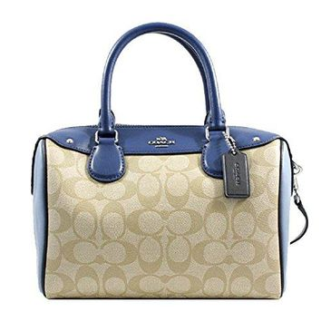 Coach Colorblock Signature Logo Mini Bennett Satchel Khaki/Blue Multi F57495