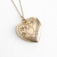 Vintage 12k Gold Filled Floral Heart Locket Necklace- 1940s WWII Era Sweetheart Etched Flower Jewelry