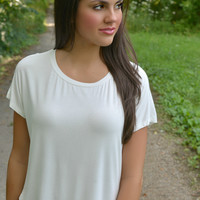 White Short Sleeve Piko Style Top