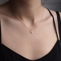 Tiny Moon Necklace/ Minimalist Necklace/ Peace, Moon, Wishbone, Cross, Bolt, Wing, Lotus, Om, Diamond, Anchor/ Simple Layering Necklaces
