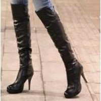 High Heel Women Boots Fashion PU Leather Ladies' High Boots Office Girls' Over Knee Boots Free Shipping
