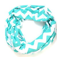 Tiffany Blue and White Jersey Knit Infinity Scarf