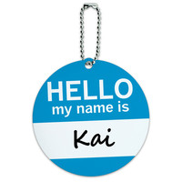 Kai Hello My Name Is Round ID Card Luggage Tag