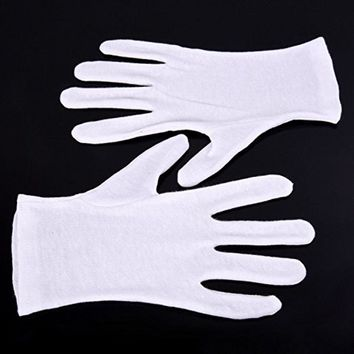 12 Pairs/Lot!  White Cotton Gloves Serving / Waiters Gloves Etiquette driver Concierge Butler Snooker Equestrian Gloves