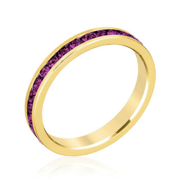 Gail Amethyst Purple Eternity Stackable Ring | 1 Carat | Crystal | 18k Gold
