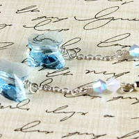 Swarovski Butterfly Earrings, Aquamarine, Sterling Silver