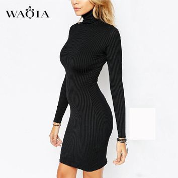WAQIA Women Autumn Dress Sweater Knitted Dresses Slim Elastic Turtleneck Long Sleeve Sexy Lady Bodycon Robe Dresses Vestidos