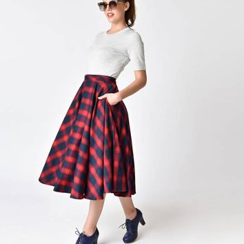 Voodoo Vixen Red & Navy Blue Plaid May Circle Skirt