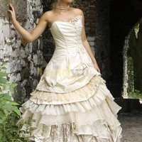 Ball Gown Multi-Layer Sweetheart Tulle Satin Wedding Dress - US$222.99 - Goldwo.com