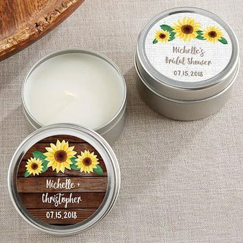 Personalized Candle Favor Tin - Sunflower