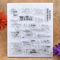 WISH HAPPY BIRTHDAY Scrapbook DIY photo cards account rubber stamp clear stamp transparent stamp 15x18cm 7051619