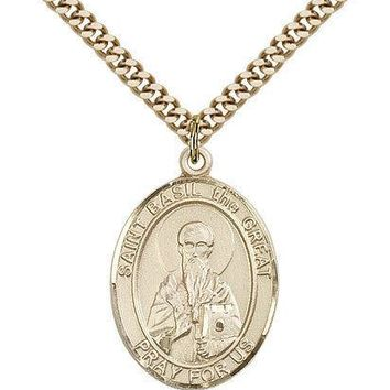 "Saint Basil The Great Medal For Men - Gold Filled Necklace On 24"" Chain - 30 ... 617759107197"