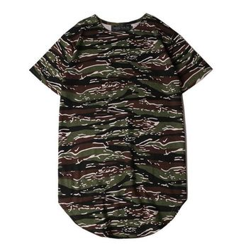 Camouflage Men Longline Shirts Extra Long Oversized Tall Tees