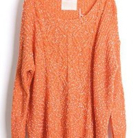 Round Neck Bat Sleeve Orange Sweater  S001765