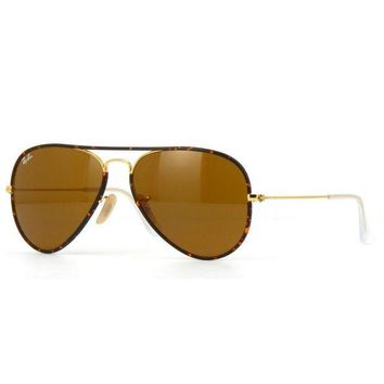 Kalete Ray Ban RB3025JM 001 Aviator Sunglasses Tortoise Gold Brown Classic B-15 58mm