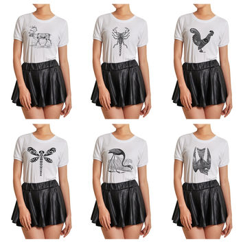 Women Animals hand drawing-4 Printed Short Sleeves T- Shirt WTS_07