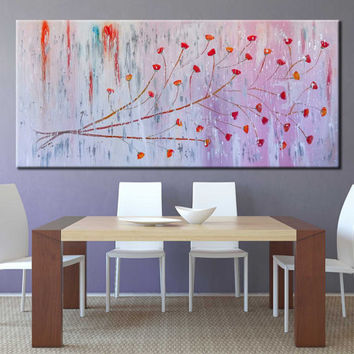 "SALE!! Floral Painting 60"" Oil on canvas Extra Large Art Original pink Abstract Flower Painting Large wall Art"