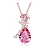 "Fappac 18k Rose Gold Plated Pink Teardrop Crystals from Swarovski Flower Pendant Necklace, 15.5+2"" Ext"