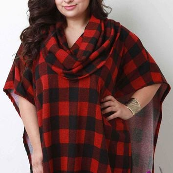 Lumberjack Plaid Cowl Neck Poncho