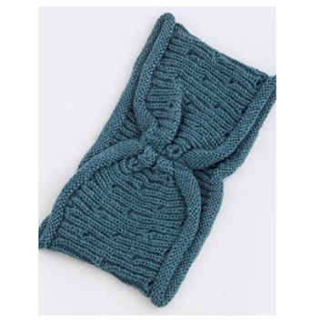 Simple Knot Accent Knit Head Wrap/Head Band~Teal