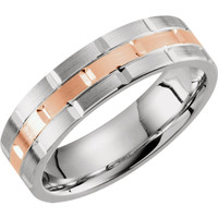 14 kt White and Rose Gold Grooved Wedding Band