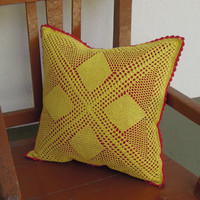 Christmas Pillow Cover - Handmade Crochet Cover - Yellow and Christmas Red - Home Decor