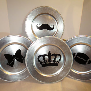 Family of Chargers-Silver Chargers Set for Mom, Dad, Son & Daughter, Mustache, Crown, Bow and Football-Fun for the informal table
