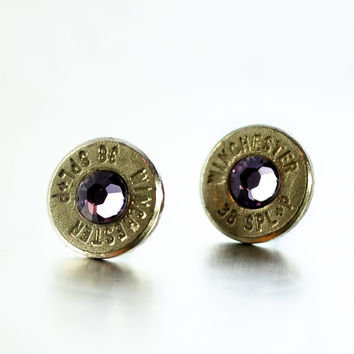 Bullet Stud Earrings - Silver and Lavender