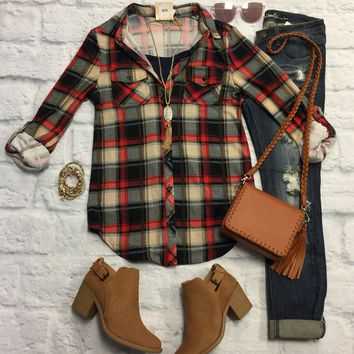 Penny Plaid Flannel Top: Red/Taupe