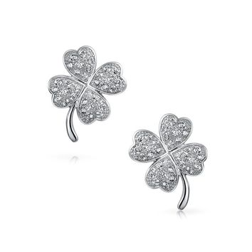 Cubic Zirconia Pave CZ Four Leaf Clover Stud Earrings Sterling Silver