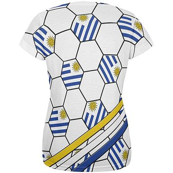 World Cup Uruguay Soccer Ball All Over Womens T Shirt