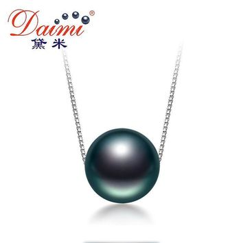 Black Tahitian Pearl Necklace Silver Chain Necklace Single Pearl Pendant Necklace Fine Jewelry