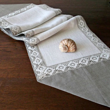 Long narrow table runner with flax lace for festive dinner Natural linen color and cream table overlay Linen dresser scarf triangular ends