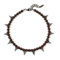 Vicious Love Pearl & Pyramid Necklace - Maroon/ Ruthenium