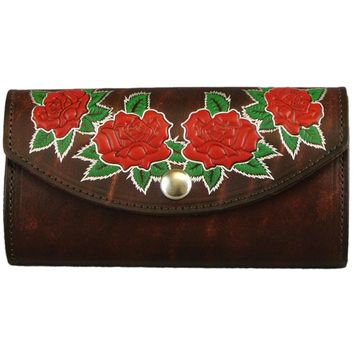 Womens Leather Clutch Wallet Red Roses Made In USA Brown