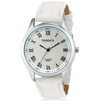 WoMaGe 9595-1 Women's Analog Quartz Wrist Watch with Roman Numerals & Faux Leather Band (White)