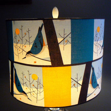 Nuthatch Drum Lamp Shade, Organic Cotton, Teal and Gold