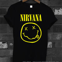 nirvana shirt nirvana band logo tshirt printed black unisex size (DL-47)