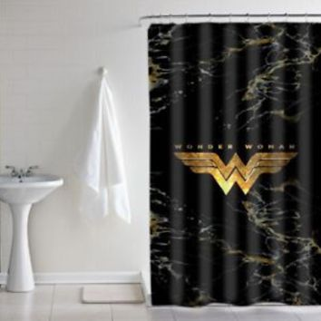 "Wonder Woman Logo Gold Marble Luxury Print Custom Shower Curtain Size 60"" x 72"""