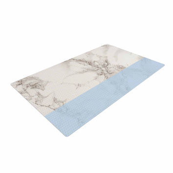 "Suzanne Carter ""Marble And Blue Block"" Modern Gray Woven Area Rug"