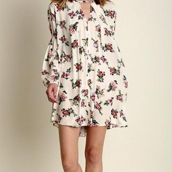 Floral Keyhole Tunic Dress