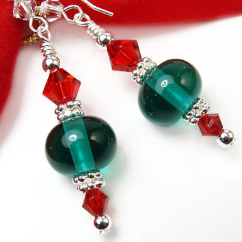 Green Glass Christmas Earrings Red Crystals Lampwork Silver Handmade