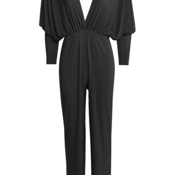 Bodysuit Jumpsuit Black Deep V-Neck Women Femme Backless Long Sleeve Romper Summer Style Rompers Womens Jumpsuit Overalls
