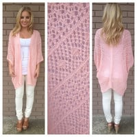 Pink Oversized Knit Lovers Cardigan