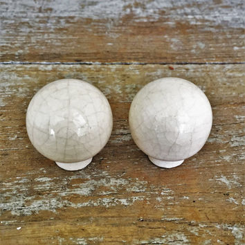 Drawer Knobs 2 Drawer Pulls Vintage Crackle Off White Ceramic Knobs Cabinet Knobs Dresser Drawer Hardware Retro Ball Knobs Home Improvement