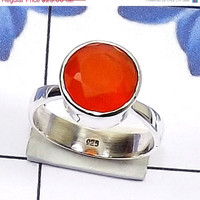20% Off Sales Carnelian Ring, Sterling Silver Ring, Gemstone Ring, Red Gemstone Ring, Birthstone Ring, Handmade Ring, Beautiful Design Ring,