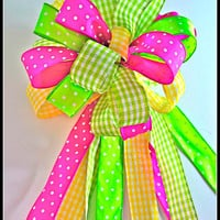 Bow Topper, Wreath Bow, Treetop Bow, Christmas Tree Topper, Easter Bow, Mailbox Bow, Easter Ribbon, Easter
